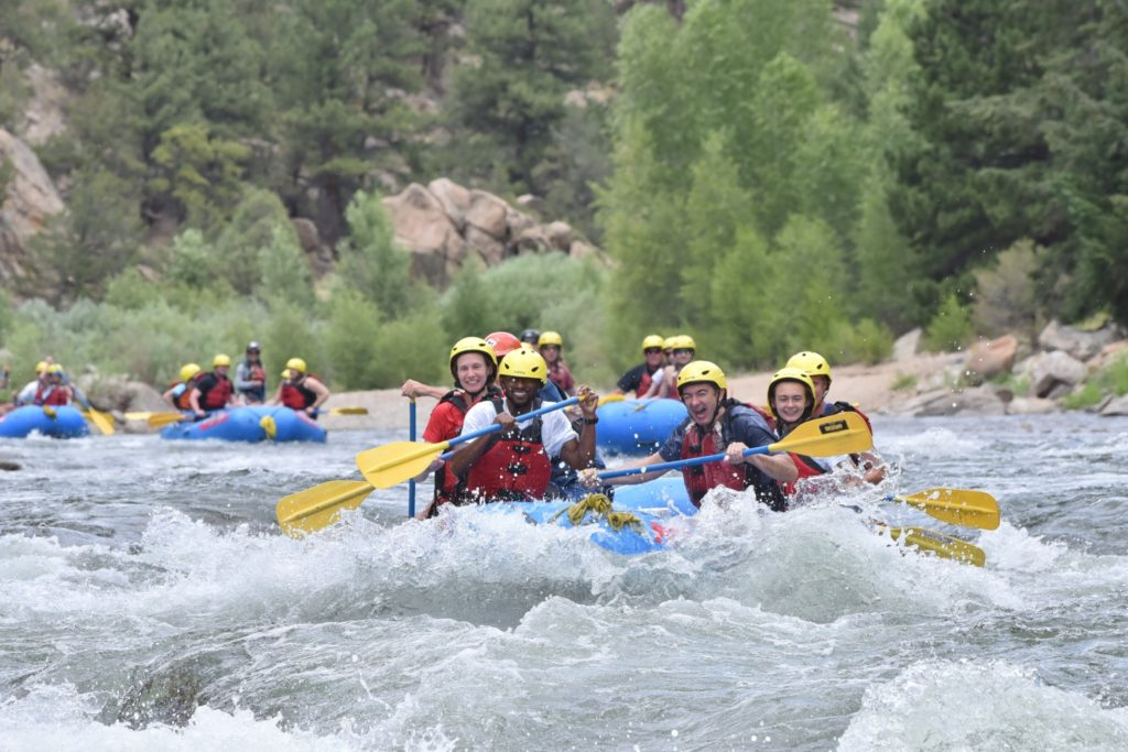 multiple rafts in whitewater